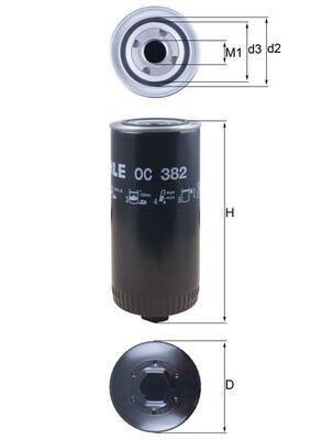 OC 382 MAHLE ORIGINAL Filtro olio per DAF N 2800 acquisti adesso