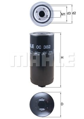 MAHLE ORIGINAL Filtr oleju do DAF - numer produktu: OC 382