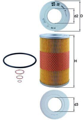 MAHLE ORIGINAL: Original Motorölfilter OX 44D (Innendurchmesser 2: 56mm, Innendurchmesser 2: 56mm, Ø: 117,0mm, Ø: 117,0mm, Höhe: 196mm, Höhe 1: 196mm)