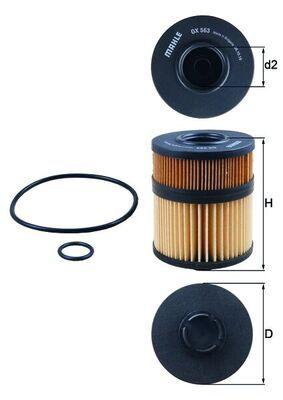OX563DECO MAHLE ORIGINAL Filtereinsatz Innendurchmesser 2: 35mm, Innendurchmesser 2: 35mm, Ø: 91,0mm, Ø: 91,0mm, Höhe: 124mm, Höhe 1: 106mm Ölfilter OX 563D günstig kaufen