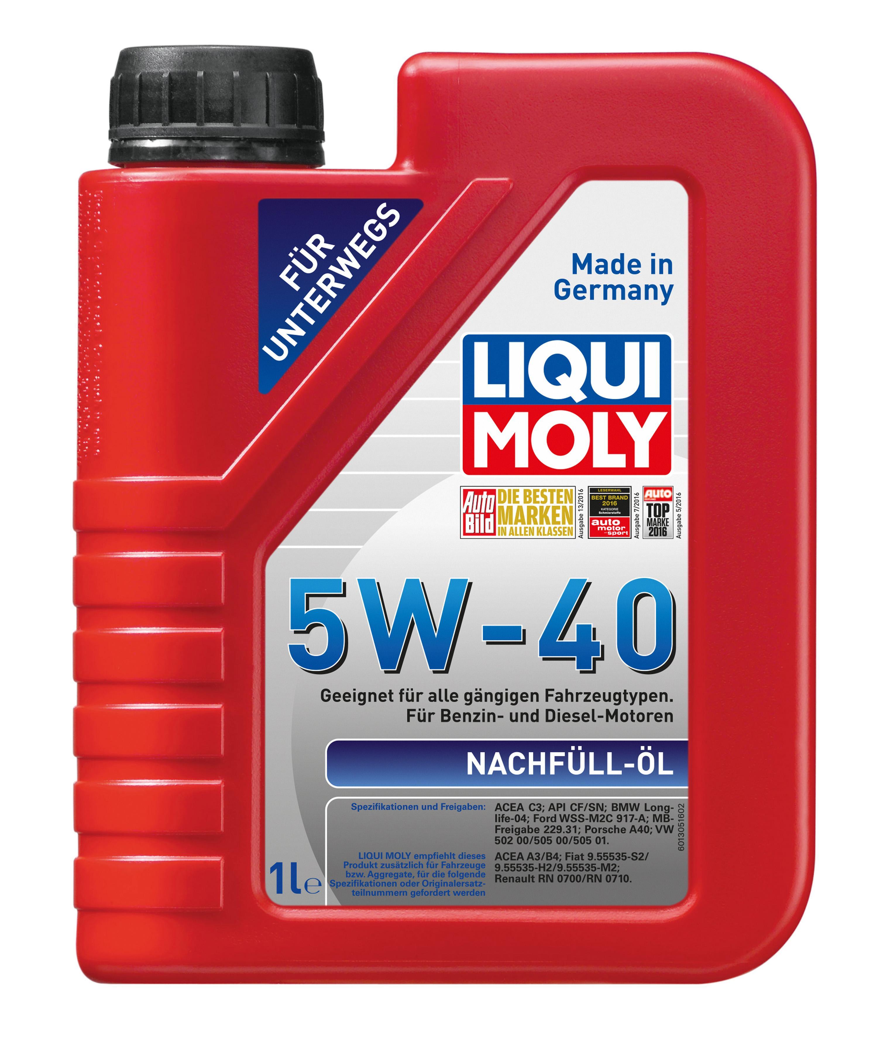 NachfllÖl5W40 LIQUI MOLY Nachfuell-oel 5W-40, 1l, Synthetiköl Motoröl 1305 günstig kaufen