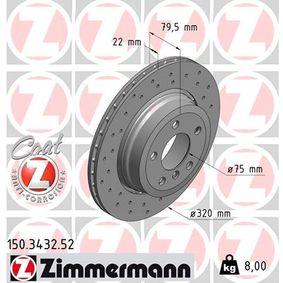 150.3432.52 ZIMMERMANN SPORT COAT Z außenbelüftet, Gelocht, beschichtet, hochgekohlt Ø: 320mm Bremsscheibe 150.3432.52 günstig kaufen