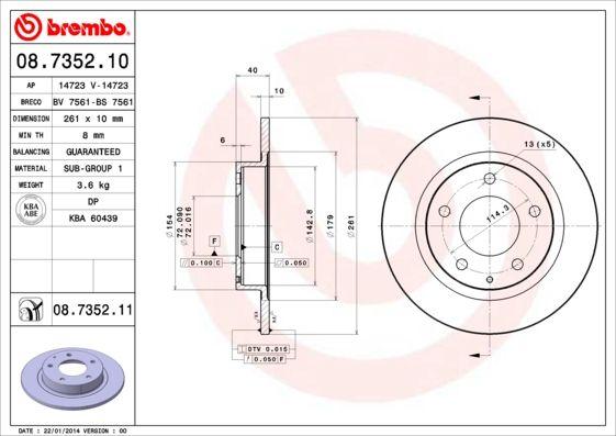 MAZDA MX-6 1997 Tuning - Original BREMBO 08.7352.11 Ø: 261mm, Lochanzahl: 5, Bremsscheibendicke: 10mm