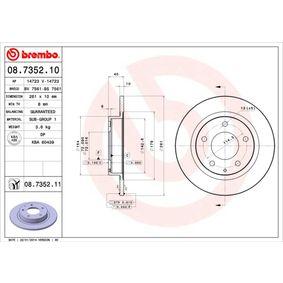 08.7352.11 BREMBO COATED DISC LINE Voll, beschichtet Ø: 261mm, Lochanzahl: 5, Bremsscheibendicke: 10mm Bremsscheibe 08.7352.11 günstig kaufen