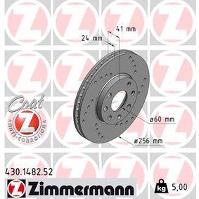 430.1482.52 ZIMMERMANN SPORT COAT Z Innenbelüftet, Gelocht, beschichtet Ø: 256mm Bremsscheibe 430.1482.52 günstig kaufen