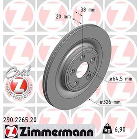 290.2265.20 ZIMMERMANN COAT Z Innenbelüftet, beschichtet Ø: 326mm Bremsscheibe 290.2265.20 günstig kaufen