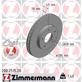 200.2515.20 ZIMMERMANN COAT Z Innenbelüftet, beschichtet Ø: 280mm, Lochanzahl: 5, Bremsscheibendicke: 28mm Bremsscheibe 200.2515.20 günstig kaufen