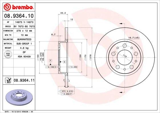 Vesz 08.9364.11 BREMBO COATED DISC LINE Tele, bevonatolt Ø: 278mm, Lyuksz.: 5, féktárcsa vastagság: 12mm Féktárcsa 08.9364.11 alacsony áron