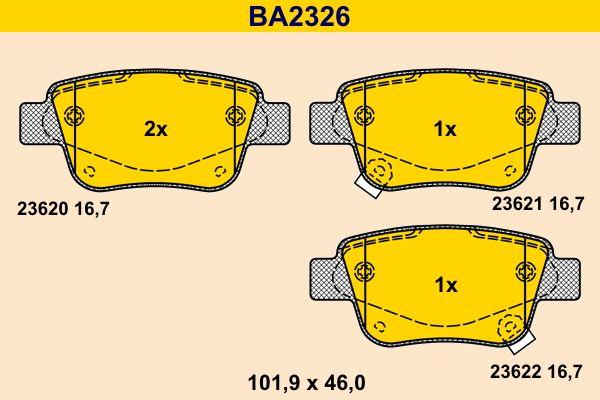 23622 Barum mit akustischer Verschleißwarnung Höhe: 46,0mm, Breite: 101,9mm, Dicke/Stärke: 16,7mm Bremsbelagsatz, Scheibenbremse BA2326 günstig kaufen