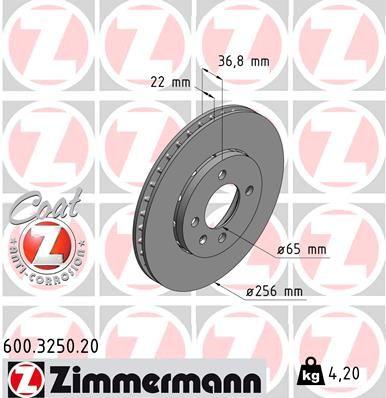Achetez Disques de frein ZIMMERMANN 600.3250.20 (Ø: 256mm, Jante: 4Trou, Épaisseur du disque de frein: 22mm) à un rapport qualité-prix exceptionnel