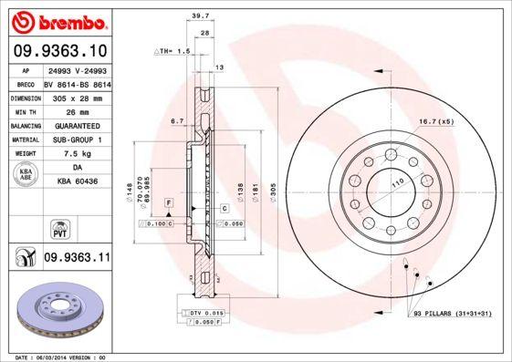Vesz 09.9363.11 BREMBO COATED DISC LINE Belső hűtésű, bevonatolt Ø: 305mm, Lyuksz.: 5, féktárcsa vastagság: 28mm Féktárcsa 09.9363.11 alacsony áron