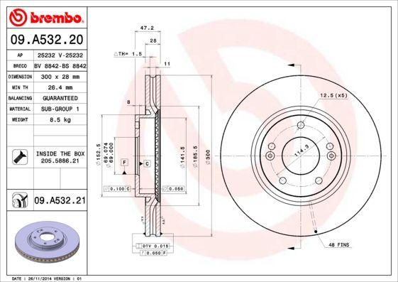 Reservdelar KIA SOUL 2013: Bromsskiva BREMBO 09.A532.20 till rabatterat pris — köp nu!