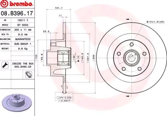08.B396.17 BREMBO BEARING DISC LINE Voll, mit ABS-Sensorring, mit Radlagersatz Ø: 300mm, Lochanzahl: 5, Bremsscheibendicke: 11mm Bremsscheibe 08.B396.17 günstig kaufen