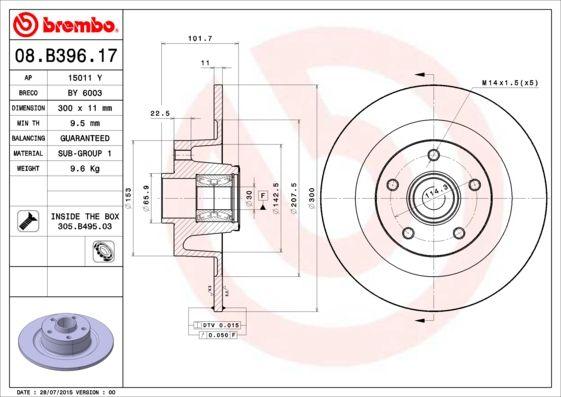 08.B396.17 Scheibenbremsen BREMBO - Markenprodukte billig