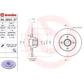 08.5834.37 BREMBO BEARING DISC LINE Voll, mit ABS-Sensorring, mit Radlagersatz Ø: 238mm, Lochanzahl: 4, Bremsscheibendicke: 8mm Bremsscheibe 08.5834.37 günstig kaufen