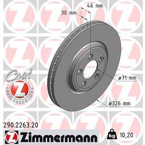 290.2263.20 ZIMMERMANN COAT Z Innenbelüftet, beschichtet, hochgekohlt Ø: 326mm, Lochanzahl: 5, Bremsscheibendicke: 30mm Bremsscheibe 290.2263.20 günstig kaufen