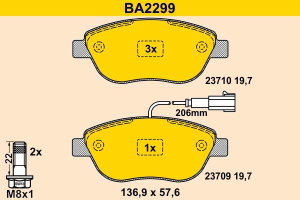 Barum Bremsbelagsatz, Scheibenbremse BA2299