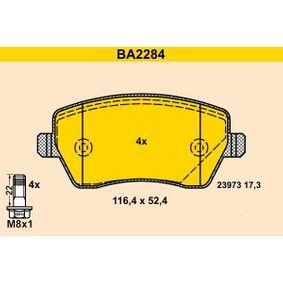 23973 Barum nicht für Verschleißwarnanzeiger vorbereitet, exkl. Verschleißwarnkontakt, mit Bremssattelschrauben Höhe: 52,4mm, Breite: 116,4mm, Dicke/Stärke: 17,3mm Bremsbelagsatz, Scheibenbremse BA2284 günstig kaufen