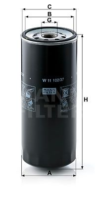 W 11 102/37 MANN-FILTER Oliefilter til SCANIA 4 - series - køb nu