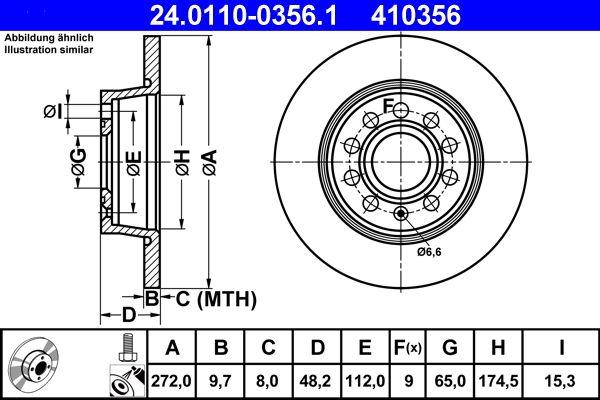 24.0110-0356.1 Bremsscheibe ATE in Original Qualität