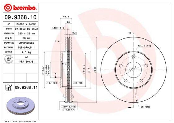 09.9368.11 Bremsscheibe BREMBO in Original Qualität