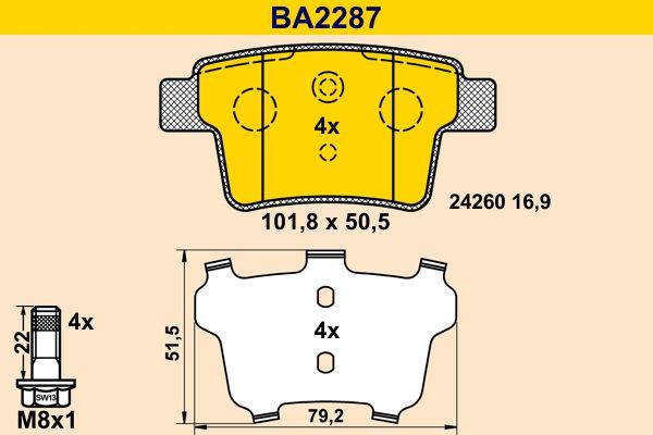 Bremsbelagsatz Scheibenbremse Barum BA2287