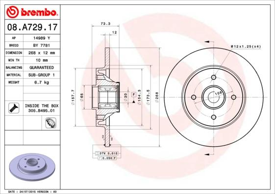 08.A729.17 BREMBO BEARING DISC LINE Voll, mit ABS-Sensorring, mit Radlagersatz Ø: 268mm, Lochanzahl: 4, Bremsscheibendicke: 12mm Bremsscheibe 08.A729.17 günstig kaufen
