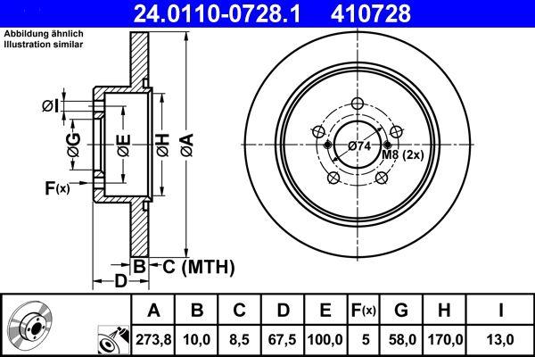 410728 ATE Voll, beschichtet Ø: 273,8mm, Lochanzahl: 5, Bremsscheibendicke: 10,0mm Bremsscheibe 24.0110-0728.1 günstig kaufen