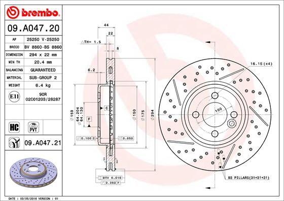 09.A047.21 Scheibenbremsen BREMBO - Markenprodukte billig
