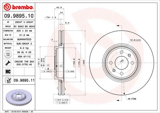 09.9895.11 Bremsscheibe BREMBO in Original Qualität
