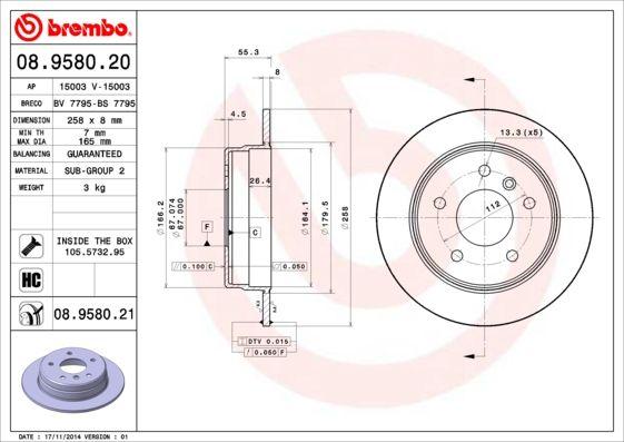 08.9580.20 BREMBO Voll, hochgekohlt, mit Schrauben Ø: 258mm, Lochanzahl: 5, Bremsscheibendicke: 8mm Bremsscheibe 08.9580.20 günstig kaufen