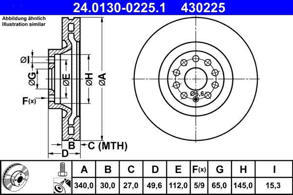 24013002251 Bremsscheiben ATE 24.0130-0225.1 - Große Auswahl - stark reduziert