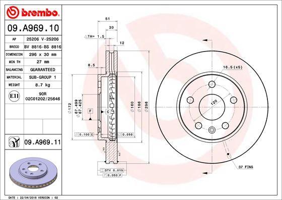 BREMBO: Original Tuning 09.A969.10 (Ø: 296mm, Lochanzahl: 5, Bremsscheibendicke: 30mm)