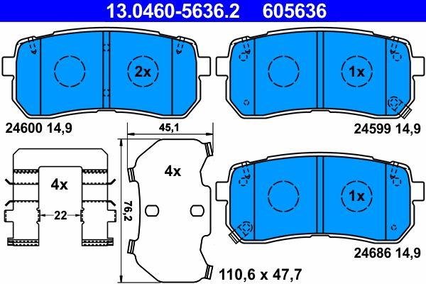 ATE Bremsbelagsatz, Scheibenbremse 13.0460-5636.2