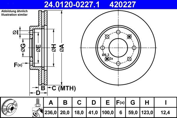 CHEVROLET KALOS 2017 Scheibenbremsen - Original ATE 24.0120-0227.1 Ø: 236,0mm, Lochanzahl: 6, Bremsscheibendicke: 20,0mm
