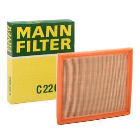 C 22 009 MANN-FILTER Länge: 224mm, Breite: 187mm, Höhe: 35mm Luftfilter C 22 009 günstig kaufen