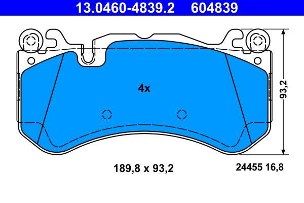 MERCEDES-BENZ S-Klasse 2015 Bremsklötze - Original ATE 13.0460-4839.2 Höhe: 93,2mm, Breite: 189,8mm, Dicke/Stärke: 16,8mm