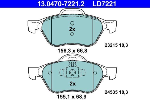 24535 ATE Ceramic exkl. Verschleißwarnkontakt, nicht für Verschleißwarnanzeiger vorbereitet Höhe 1: 68,9mm, Höhe 2: 66,8mm, Breite 1: 155,1mm, Breite 2: 156,3mm, Dicke/Stärke: 18,3mm Bremsbelagsatz, Scheibenbremse 13.0470-7221.2 günstig kaufen