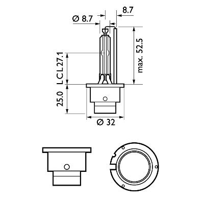 85122VIC1 Glödlampa, fjärrstrålkastare PHILIPS - Billiga märkesvaror
