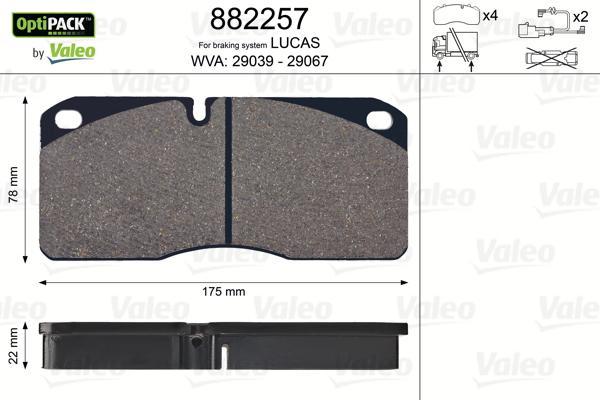 Bremsbelagsatz, Scheibenbremse VALEO 882257 mit 17% Rabatt kaufen