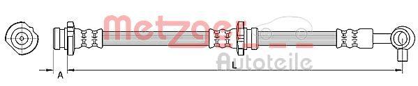 Buy Brake hose METZGER 4110848 Length: 625mm, Inner Thread: M10 x 1mm
