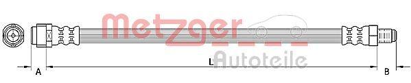 MERCEDES-BENZ R-Klasse 2011 Bremsschlauch - Original METZGER 4110921 Länge: 555mm, Innengewinde 1: M10 x 1mm