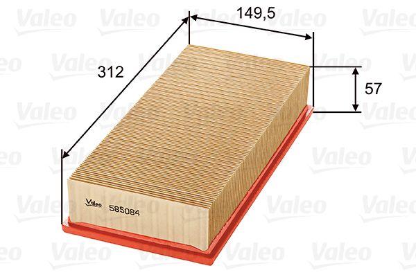 NISSAN JUKE 2016 Luftfilter - Original VALEO 585084 Länge: 312, 314mm, Länge: 312, 314mm, Breite: 151mm, Höhe: 58mm