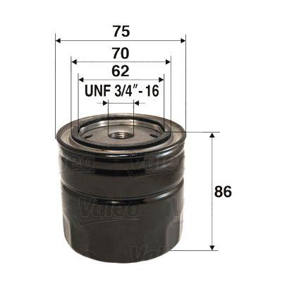 Origine Filtre à huile VALEO 586023 (Diamètre intérieur 2: 70mm, Diamètre intérieur 2: 62mm, Ø: 76,5mm, Hauteur: 85mm)