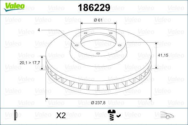 Stabdžių diskas 186229 VALEO — tik naujos dalys