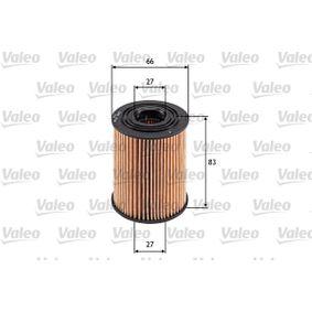 586569 VALEO Filtereinsatz Innendurchmesser: 21mm, Innendurchmesser 2: 27mm, Ø: 66mm, Höhe: 83mm Ölfilter 586569 günstig kaufen
