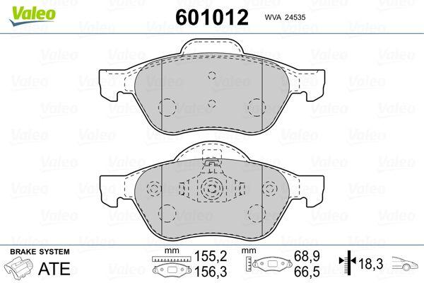 Origine Jeu de plaquettes de frein VALEO 601012 (Hauteur 2: 66,5mm, Hauteur: 68,9mm, Largeur 2: 156,3mm, Largeur: 155,2mm, Epaisseur 2: 18,3mm, Épaisseur: 18,3mm)