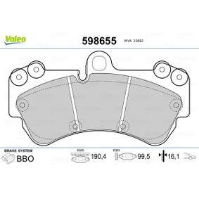 598655 VALEO Eje delantero, excl. contacto de avisador de desgaste Altura 1: 99,5mm, Ancho 1: 190,4mm, Espesor 1: 16,1mm Juego de pastillas de freno 598655 a buen precio