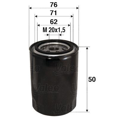 VALEO 586001 (Diamètre intérieur 2: 71mm, Diamètre intérieur 2: 62mm, Ø: 76mm, Hauteur: 50mm) : Filtre à huile Renault Kangoo kc01 2015