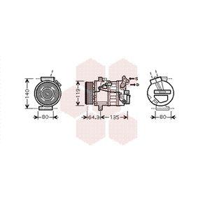 4300K394 VAN WEZEL PAG 46, Kältemittel: R 134a Riemenscheiben-Ø: 115mm, Anzahl der Rillen: 7 Kompressor, Klimaanlage 4300K394 günstig kaufen